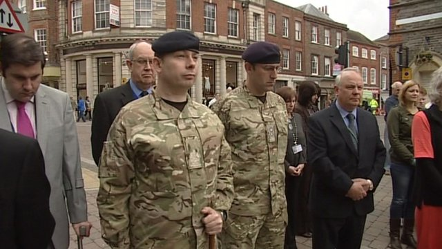Soldiers at the service in Newbury town centre