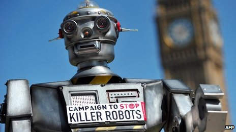 "A mock ""killer robot"" in central London - part of a protest calling for a ban on such weapons in London on 23 April 2013"