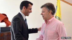 Venezuelan opposition leader Henrique Capriles and Colombian President Juan Manuel Santos