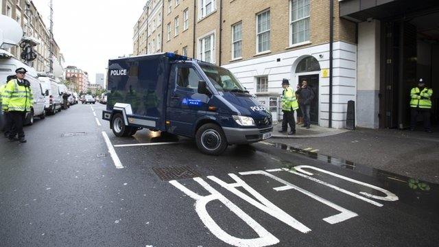 A police van believed to be transporting 22-year-old Michael Adebowale arrives at court