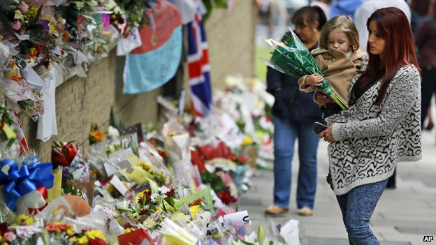 Tributes in Woolwich to murdered soldier Lee Rigby