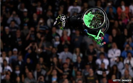 Aaron Fotheringham performs a stunt in his wheelchair during Nitro Circus Live at Westpac Stadium on February 9, 2013 in Wellington, New Zealand