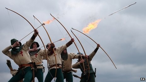 Purbrook Bowmen fire a volley of flaming arrows from Southsea Castle