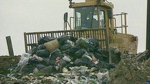 Rubbish on a landfill site