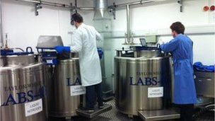 Scientists working near big freezers containing blood samples