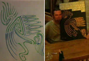 Drawing and Rob Fewster with his artwork in a Krabi bar
