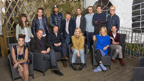 The BBC's Glastonbury 2013 presenter line-up: (l to r) Gemma Cairney, Jen Long, Mark Radcliffe, Nick Grimshaw, Dermot O'Leary, DJ Target, Stuart Maconie, Lauren Laverne, Zane Lowe, Huw Stephens, Greg James, Jo Whiley, Chris Evans, Steve Lamacq