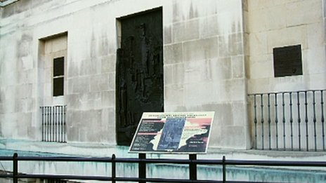 The information board in place before removal