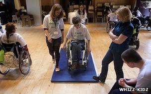 A wheelchair skills class