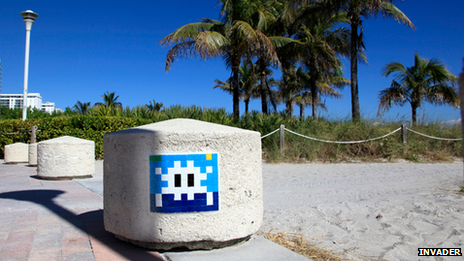 Space Invaders art in Miami