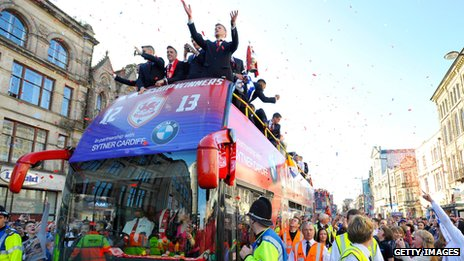 Cardiff City celebrate winning Championship and promotion to Premier League