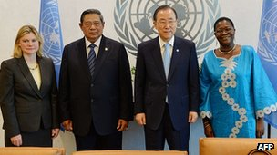 International Development Secretary Justine Greening, with UN Secretary General Ban Ki-Moon, Indonesian President Susilo Bambang Yudhoyono and Liberian minister of agriculture Florence Chenoweth