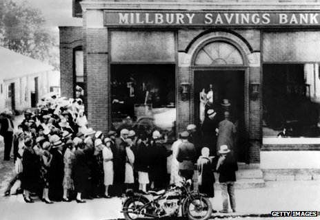 Queue of savers outside bank during 1929 financial crash