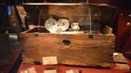 A chest belonging to a wealthier crew member, which also included a secret compartment (right)