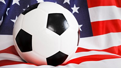 Football and American flag