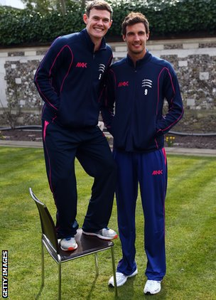 Harris with Middlesex team-mate and England bowler Steve Finn
