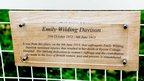 A plaque to Emily Wilding Davison