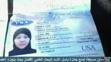 Grab from Syrian TV showing apparent USA passport with photo of woman