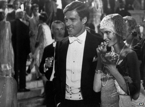 Robert Redford as Jay Gatsby and Mia Farrow as Daisy in the 1974 film