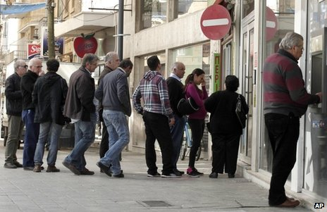 Queue of savers outside bank in Cyprus