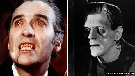 Christopher Lee as Dracula and Boris Karloff as Frankenstein's monster