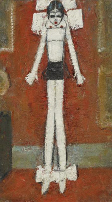 Girl in Bows in a Formal Interior by LS Lowry