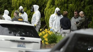 Authorities investigate a ricin-letter threat in Spokane, Washington 18 May 2013