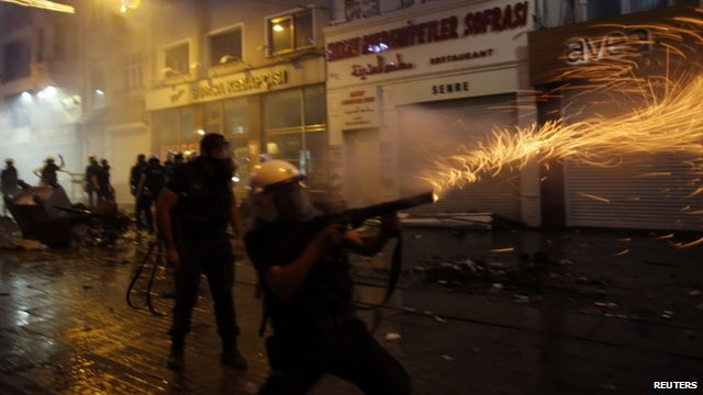 Police firing tear gas at protesters