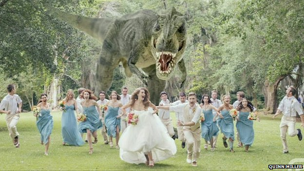 Wedding party 'chased by T. Rex'