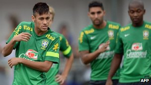 Brazilian national team player Neymar at a training session in Rio de Janeiro