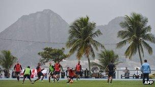 England's national football team trains in Rio de Janeiro