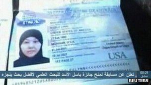 A still image from video on Syrian TV showing a U.S. passport apparently belonging to Nicole Mansfield