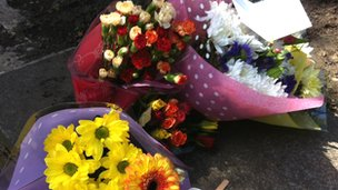 Floral tributes at Pudsey Park