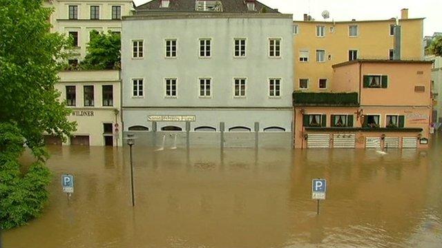 A flooded street