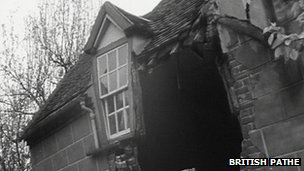 House damaged by landslide in Jackfield in 1952