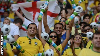 Brazil and England fans watch during the friendly