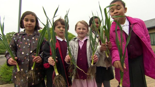Children holding leeks