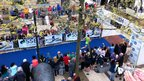 The scene at the finishing line of the marathon