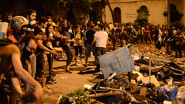 This footage was shot in Taksim Square on Sunday evening