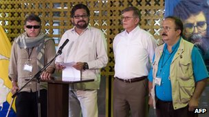 Farc negotiators in Cuba on 3 May 2013