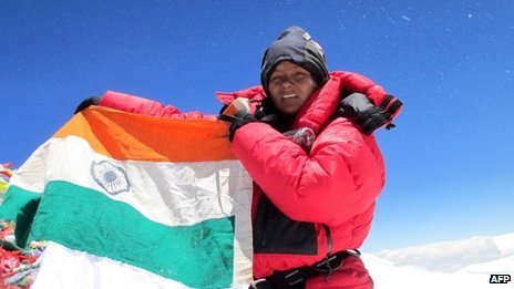 Arunima Sinha on top of the Mount Everest