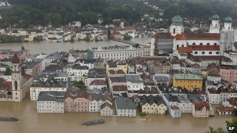 Aerial view of flooded Passau on 3 June 2013