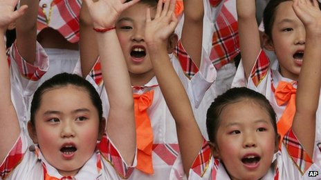 File image of the Chinese Children's Choir during the 2008 Olympic Games in Beijing on 4 August 2008