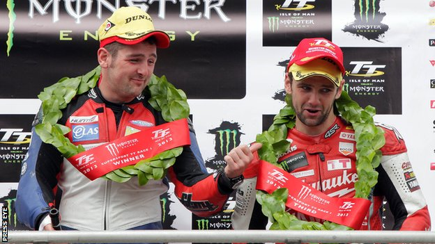Michael Dunlop was joined in the Supersport podium by his brother William who took third