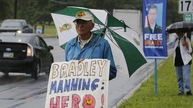 Protesters call for the release of US Army Private First Class Bradley Manning