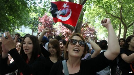 High school students chant slogans during a protest at Gezi park, Taksim square in Istanbul