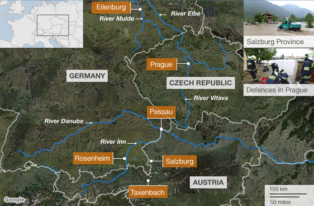 Central Europe flood map