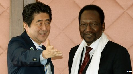 Japan's Prime Minister Shinzo Abe and Mali's Interim President Dioncounda Traore (3 June 2013)