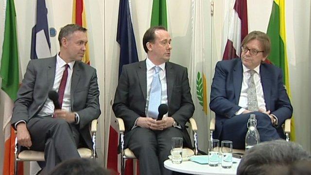 Simon Hix, Martin Callanan and Guy Verhofstadt