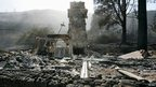 A burned out structure near Los Angeles California 2 June 2013
